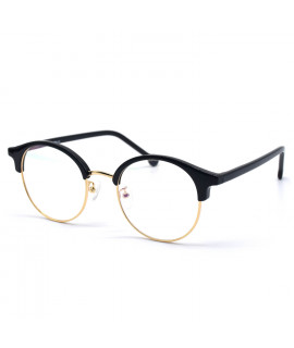 HKUCO Classic Half Frame Clear Lens Eyewear Glasses (LENSES: Demo lenses - Non Prescription)