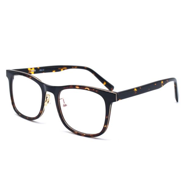 HKUCO Casual Fashion Horned Rim Rectangular Frame Clear Lens Eye Glasses (Multiple Lens Color Options)