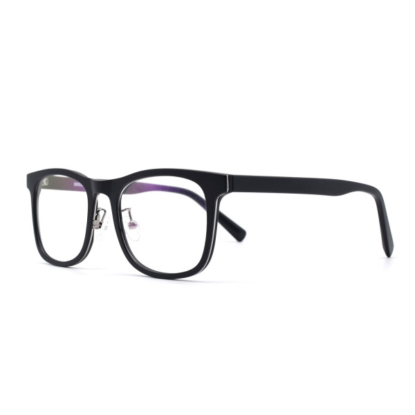 HKUCO Prescription Glasses Casual Fashion Horned Rim Rectangular Black Frame Eye Glasses (Multiple Lens Color Options)