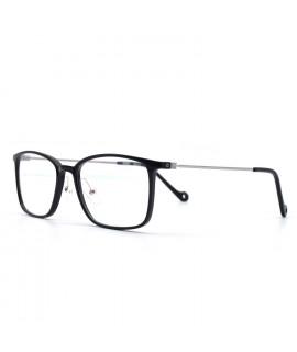 HKUCO Prescription Glasses Casual Classic Square Frame Clear Lens Black Frame Glasses (Multiple Lens Color Options)