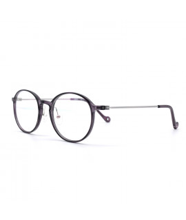 HKUCO Prescription Glasses Cozy Composite Transparent Gray Frame Eyewear (Multiple Lens Color Options)