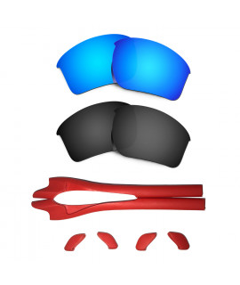 HKUCO Blue/Black Polarized Replacement Lenses plus Red Earsocks Rubber Kit For Oakley Half Jacket 2.0 XL