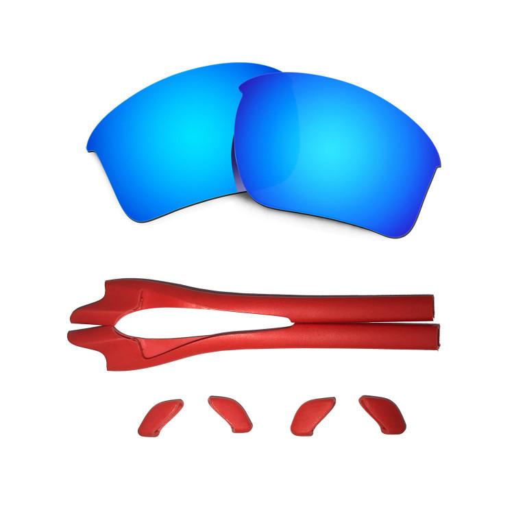 HKUCO Red/Blue Polarized Replacement Lenses plus Red Earsocks Rubber Kit For Oakley Half Jacket 2.0 XL 2TvHULjH