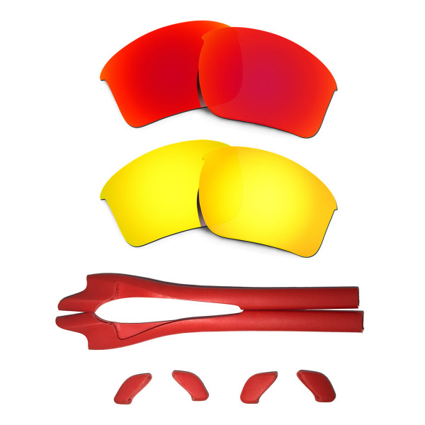 HKUCO Red/24K Gold Polarized Replacement Lenses plus Red Earsocks Rubber Kit For Oakley Half Jacket 2.0 XL