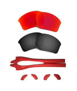 HKUCO Red/Black Polarized Replacement Lenses plus Red Earsocks Rubber Kit For Oakley Half Jacket 2.0 XL