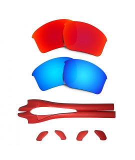HKUCO Red/Blue Polarized Replacement Lenses plus Red Earsocks Rubber Kit For Oakley Half Jacket 2.0 XL