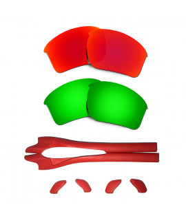 HKUCO Red/Green Polarized Replacement Lenses plus Red Earsocks Rubber Kit For Oakley Half Jacket 2.0 XL