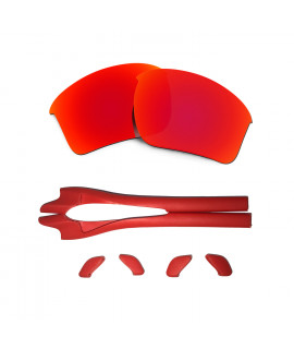 HKUCO Red Polarized Replacement Lenses plus Red Earsocks Rubber Kit For Oakley Half Jacket 2.0 XL
