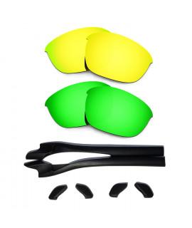 HKUCO 24K Gold/Green Polarized Replacement Lenses plus Black Earsocks Rubber Kit For Oakley Half Jacket 2.0