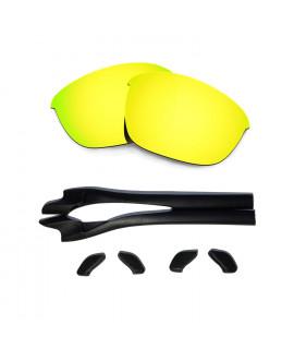 HKUCO 24K Gold Polarized Replacement Lenses plus Black Earsocks Rubber Kit For Oakley Half Jacket 2.0