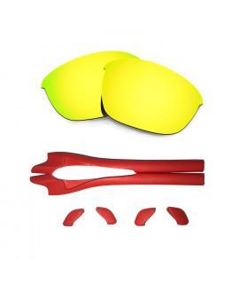 HKUCO 24K Gold Polarized Replacement Lenses plus Red Earsocks Rubber Kit For Oakley Half Jacket 2.0