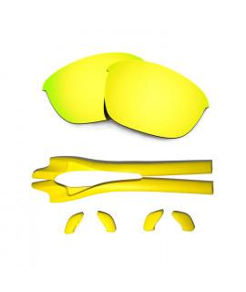 HKUCO 24K Gold Polarized Replacement Lenses plus Yellow Earsocks Rubber Kit For Oakley Half Jacket 2.0
