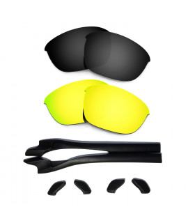 HKUCO Black/24K Gold Polarized Replacement Lenses plus Black Earsocks Rubber Kit For Oakley Half Jacket 2.0