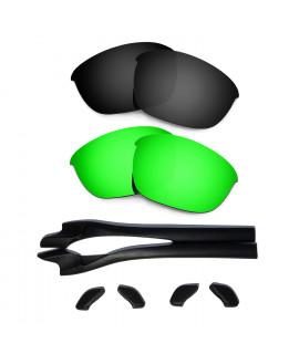 HKUCO Black/Green Polarized Replacement Lenses plus Black Earsocks Rubber Kit For Oakley Half Jacket 2.0