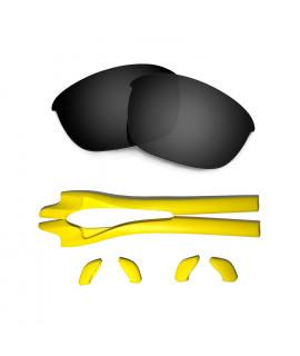 HKUCO Black Polarized Replacement Lenses plus Yellow Earsocks Rubber Kit For Oakley Half Jacket 2.0