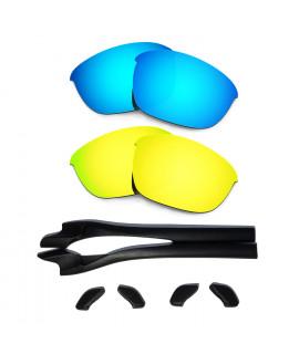 HKUCO Blue/24K Gold Polarized Replacement Lenses plus Black Earsocks Rubber Kit For Oakley Half Jacket 2.0
