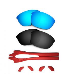 HKUCO Blue/Black Polarized Replacement Lenses plus Red Earsocks Rubber Kit For Oakley Half Jacket 2.0