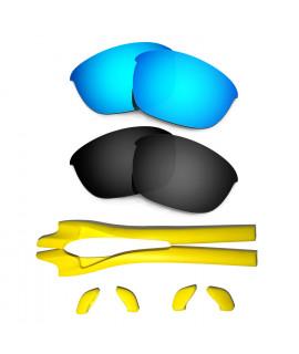 HKUCO Blue/Black Polarized Replacement Lenses plus Yellow Earsocks Rubber Kit For Oakley Half Jacket 2.0