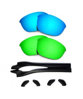 HKUCO Blue/Green Polarized Replacement Lenses plus Black Earsocks Rubber Kit For Oakley Half Jacket 2.0