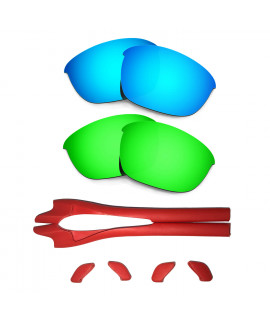 HKUCO Blue/Green Polarized Replacement Lenses plus Red Earsocks Rubber Kit For Oakley Half Jacket 2.0