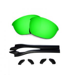 HKUCO Green Polarized Replacement Lenses plus Black Earsocks Rubber Kit For Oakley Half Jacket 2.0