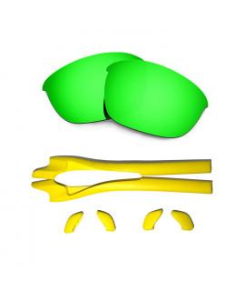 HKUCO Green Polarized Replacement Lenses plus Yellow Earsocks Rubber Kit For Oakley Half Jacket 2.0