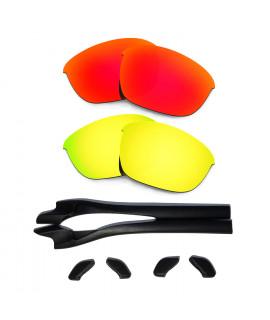 HKUCO Red/24K Gold Polarized Replacement Lenses plus Black Earsocks Rubber Kit For Oakley Half Jacket 2.0