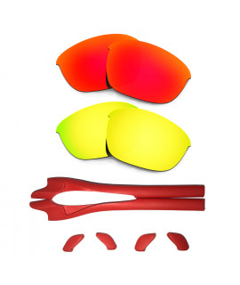 HKUCO Red/24K Gold Polarized Replacement Lenses plus Red Earsocks Rubber Kit For Oakley Half Jacket 2.0