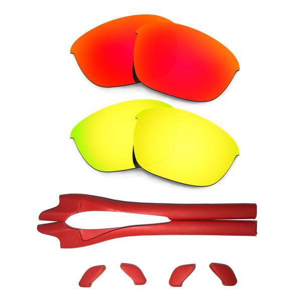 HKUCO Red/24K Gold Polarized Replacement Lenses plus Red Earsocks Rubber Kit For Oakley Half Jacket 2.0