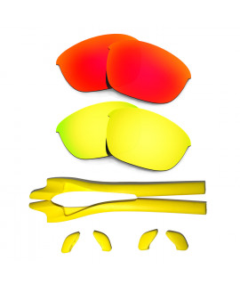 HKUCO Red/24K Gold Polarized Replacement Lenses plus Yellow Earsocks Rubber Kit For Oakley Half Jacket 2.0