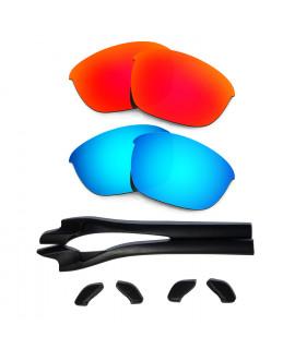 HKUCO Red/Blue Polarized Replacement Lenses plus Black Earsocks Rubber Kit For Oakley Half Jacket 2.0