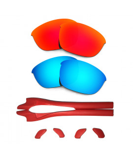HKUCO Red/Blue Polarized Replacement Lenses plus Red Earsocks Rubber Kit For Oakley Half Jacket 2.0
