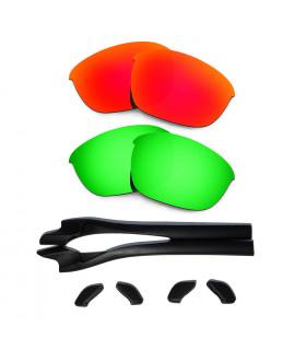 HKUCO Red/Green Polarized Replacement Lenses plus Black Earsocks Rubber Kit For Oakley Half Jacket 2.0