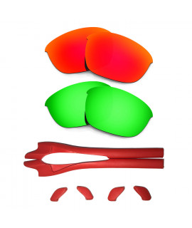HKUCO Red/Green Polarized Replacement Lenses plus Red Earsocks Rubber Kit For Oakley Half Jacket 2.0