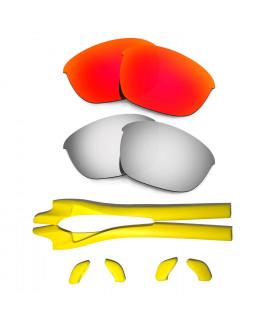 HKUCO Red/Titanium Polarized Replacement Lenses plus Yellow Earsocks Rubber Kit For Oakley Half Jacket 2.0