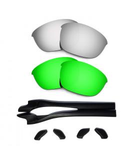 HKUCO Silver/Green Polarized Replacement Lenses plus Black Earsocks Rubber Kit For Oakley Half Jacket 2.0