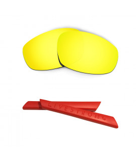 HKUCO 24K Gold Polarized Replacement Lenses plus Red Earsocks Rubber Kit For Oakley Split Jacket