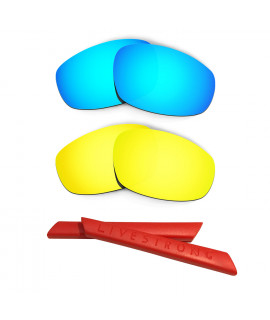 HKUCO Blue/24K Gold Polarized Replacement Lenses plus Red Earsocks Rubber Kit For Oakley Split Jacket