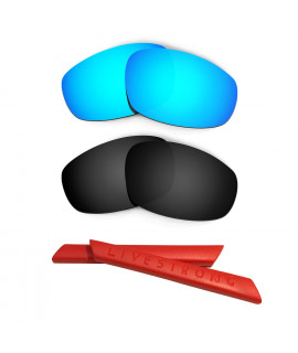 HKUCO Blue/Black Polarized Replacement Lenses plus Red Earsocks Rubber Kit For Oakley Split Jacket
