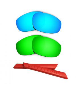 HKUCO Blue/Green Polarized Replacement Lenses plus Red Earsocks Rubber Kit For Oakley Split Jacket
