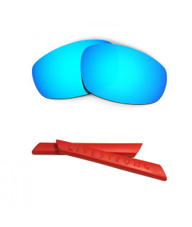 HKUCO Blue Polarized Replacement Lenses plus Red Earsocks Rubber Kit For Oakley Split Jacket