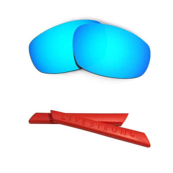 HKUCO Blue Polarized Replacement Lenses plus Red Earsocks Rubber Kit For Oakley Split Jacket