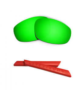 HKUCO Green Polarized Replacement Lenses plus Red Earsocks Rubber Kit For Oakley Split Jacket