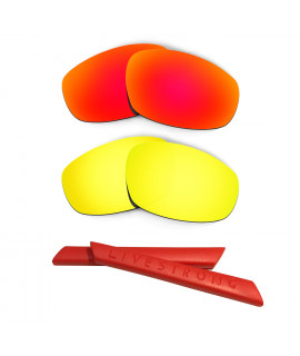 HKUCO Red/24K Gold Polarized Replacement Lenses plus Red Earsocks Rubber Kit For Oakley Split Jacket