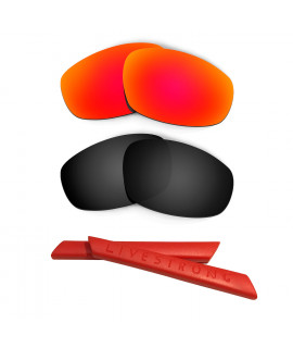 HKUCO Red/Black Polarized Replacement Lenses plus Red Earsocks Rubber Kit For Oakley Split Jacket