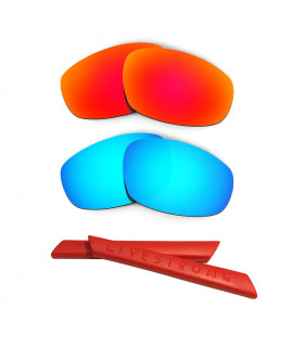 HKUCO Red/Blue Polarized Replacement Lenses plus Red Earsocks Rubber Kit For Oakley Split Jacket