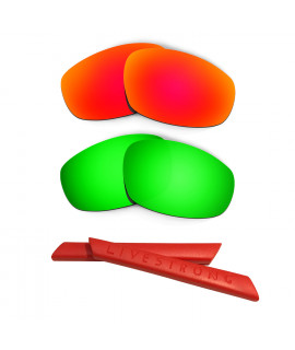HKUCO Red/Green Polarized Replacement Lenses plus Red Earsocks Rubber Kit For Oakley Split Jacket