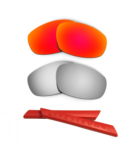 HKUCO Red/Titanium Polarized Replacement Lenses plus Red Earsocks Rubber Kit For Oakley Split Jacket