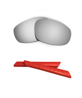HKUCO Silver Polarized Replacement Lenses plus Red Earsocks Rubber Kit For Oakley Split Jacket