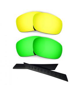 HKUCO 24K Gold/Green Polarized Replacement Lenses plus Black Earsocks Rubber Kit For Oakley Racing Jacket